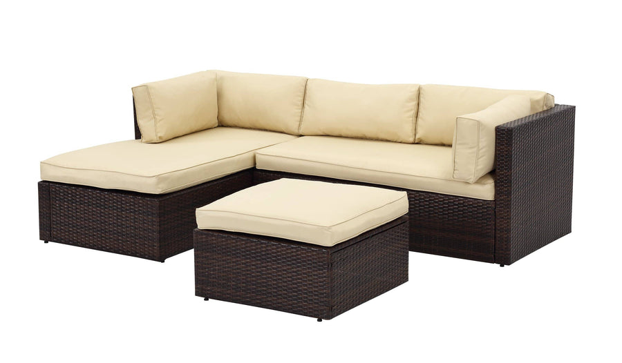 Context Amity 3 Piece All Weather Wicker L-Shape Sectional with Chaise with Cushions and Ottoman