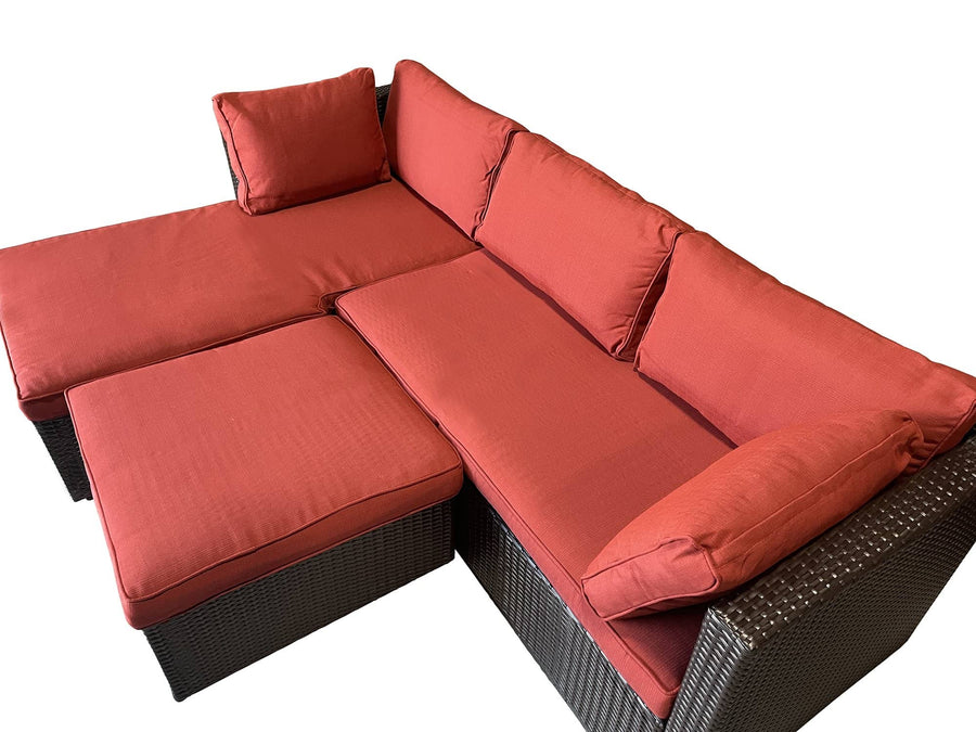 Context Amity 3 Piece All Weather Wicker L-Shape Sectional with Chaise with Cushions and Ottoman - Red