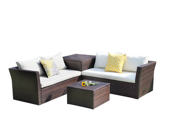 Context Cascade 4 Piece All Weather Wicker Sofa Seating Group with Cushions, Storage and Coffee Table with Storage