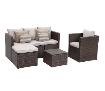 Context Brisk 6 Piece All Weather Wicker Sofa Seating Group with Cushions, Ottoman With Storage and Coffee Table