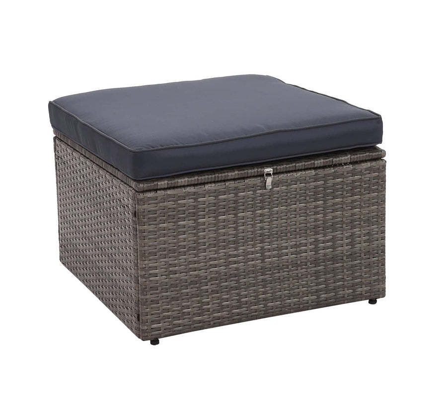 Context Brisk 6 Piece All Weather Wicker Sofa Seating Group with Cushions, Ottoman with Storage and Coffee Table - Navy