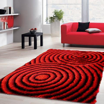 Colibri Shaggy Red-Black 3D 199 - Context USA - Area Rug by MSRUGS