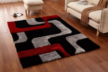 Colibri Shaggy Black-Red 3D 099 - Context USA - Area Rug by MSRUGS