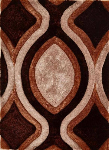 Colibri Shaggy Brown-Beige 3D 666 - Context USA - Area Rug by MSRUGS