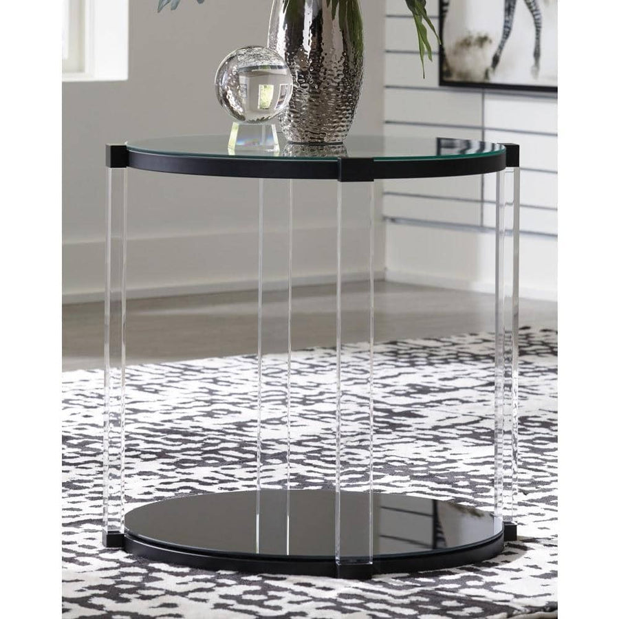 Delsiny Black Round End Table
