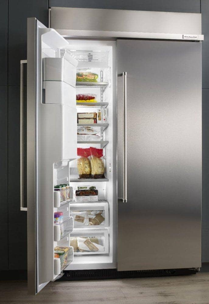 KitchenAid - 25 Cu. Ft. Side-by-Side Built-In Refrigerator - Stainless steel