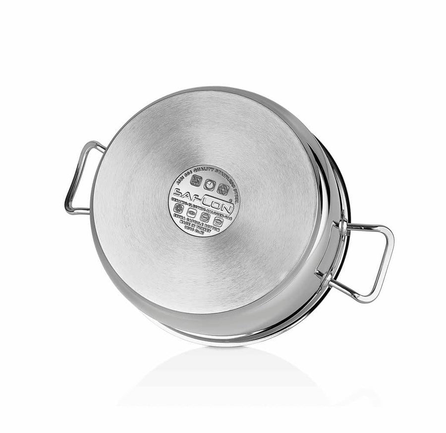 Saflon Stainless Steel Stock Pot with Glass Lid