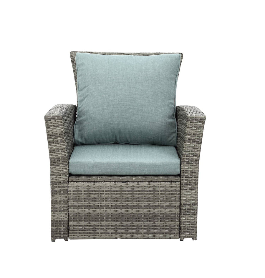Context Vista 4 Piece All Weather Wicker Sofa Seating Group with Cushions and Coffee Table
