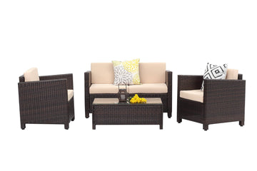Context Helio 4 Piece All Weather Wicker Sofa Seating Group with Cushions and Coffee Table