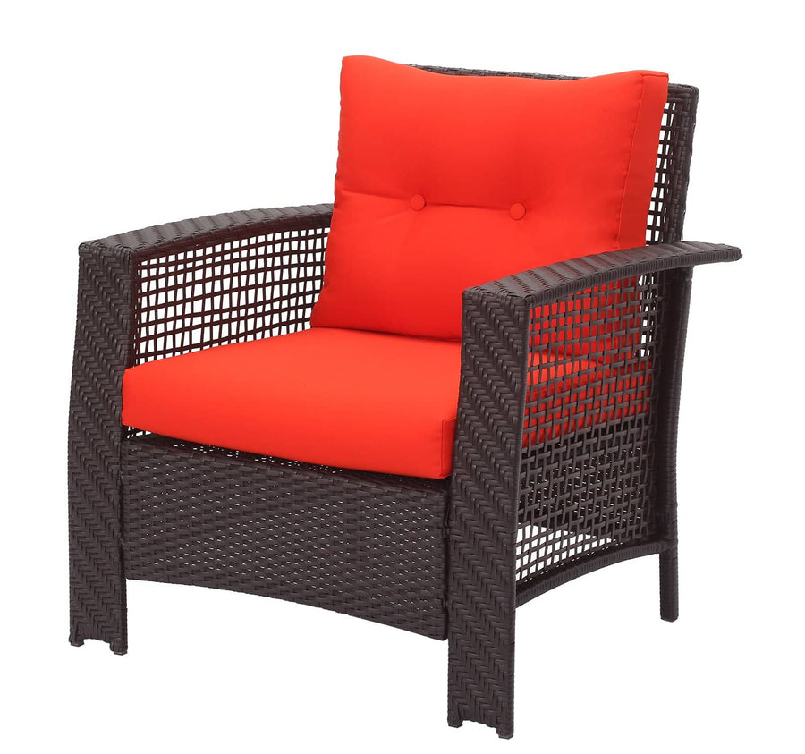Context Ariel 4 Piece All Weather Wicker Sofa Seating Group with Cushions and Coffee Table
