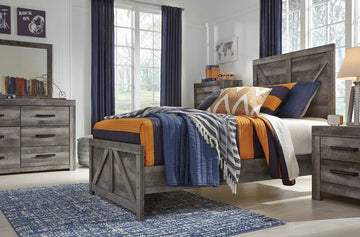 Gray Cross-buck Bedroom Set