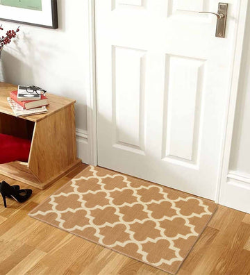 Trellis Collection Contemporary Beige Area Rug