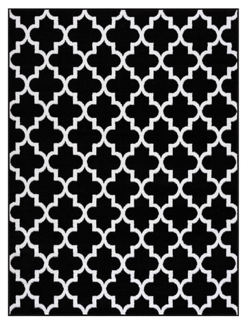 Trellis Collection Contemporary Black Area Rug