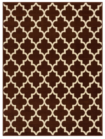Trellis Collection Contemporary Brown Area Rug