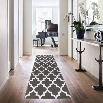 Trellis Collection Contemporary Dark Gray Area Rug