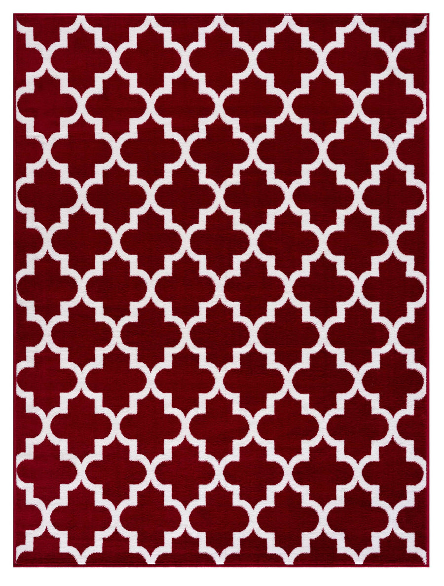 Trellis Collection Contemporary Red Area Rug