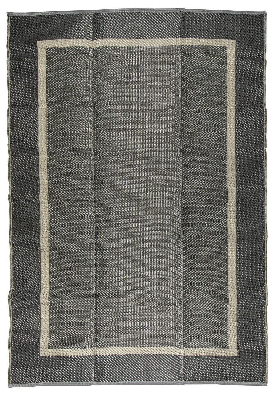Border Design Gray/Charcoal Gray Reversible Indoor/Outdoor Mat Area Rug with Bag