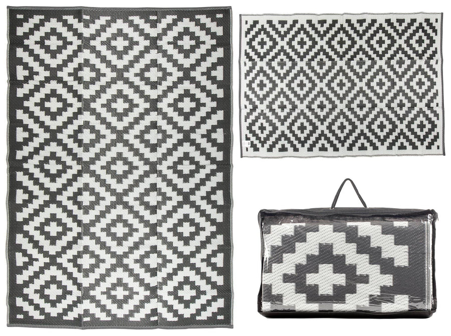 Trellis Design Gray/White Reversible Indoor/Outdoor Mat Area Rug with Bag