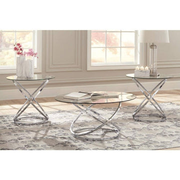 Hollynyx Chrome Finish Table (Set of 3)