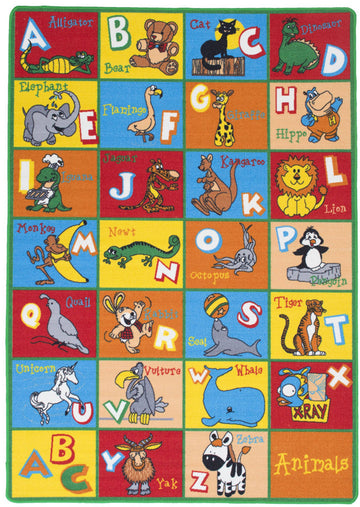Animal Friends Playful Alphabet ABCD Kids Fun Area Rug