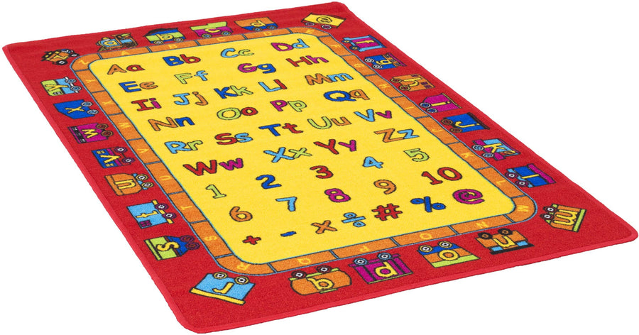 Kids Playful Alphabet ABCD and Numbers Train Kids Fun Area Rug