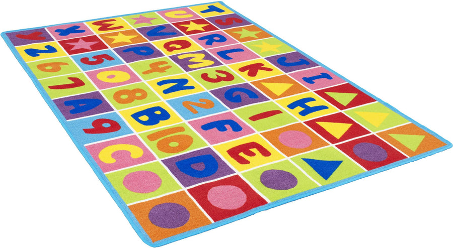 Kids Letters Numbers and Shapes Playful Kids Fun Area Rug