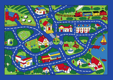 Kids City Street Map Play and Travel Kids Fun Area Rug