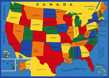 Kids USA States Map Playful Kids Fun Area Rug