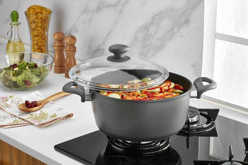 Gray Titanium Nonstick 8-Quart Stock Pot with Tempered Glass Lid