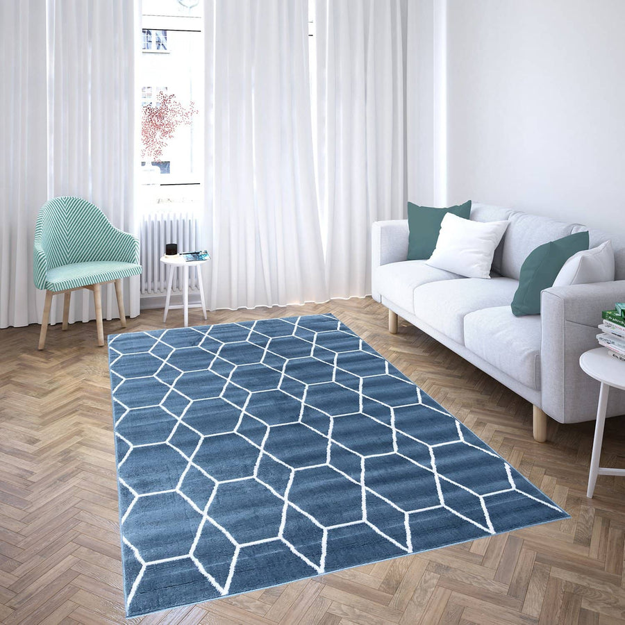 160 Blue moroccan collection area rug