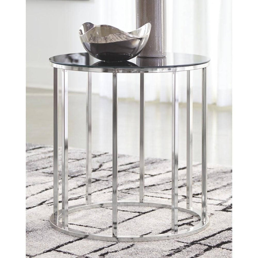 Clenco Black/Chrome Finish Round End Table