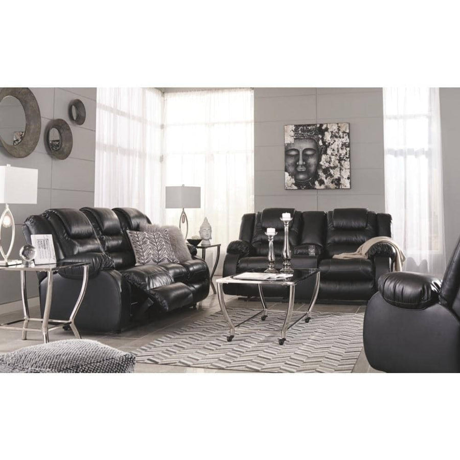 Vacherie Black Reclining Loveseat w/Console