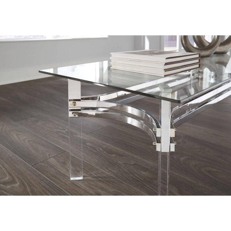 Braddoni Chrome Finish Rectangular Cocktail Table