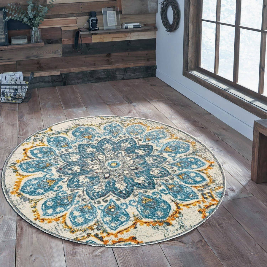 Pomegranate Bloom Vintage Area Rug V040A - Context USA - Area Rug by MSRUGS