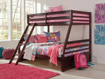 Dark Brown Twin over Twin Bunk Bed with Ladder