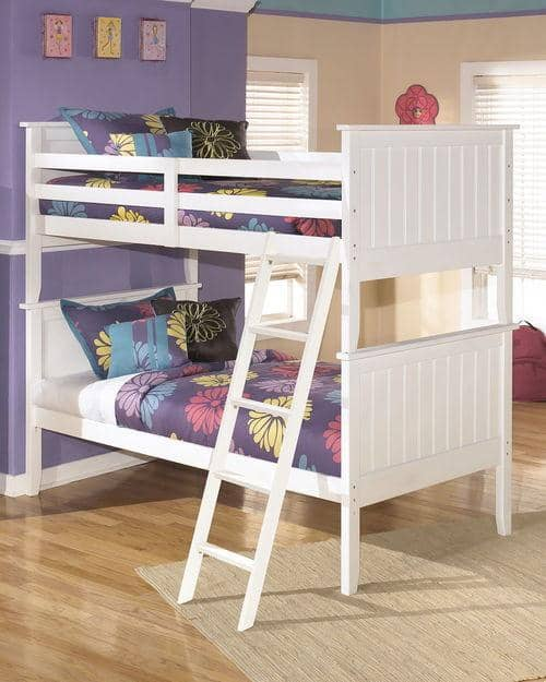White 3-Piece Twin over Twin Bunk Bed