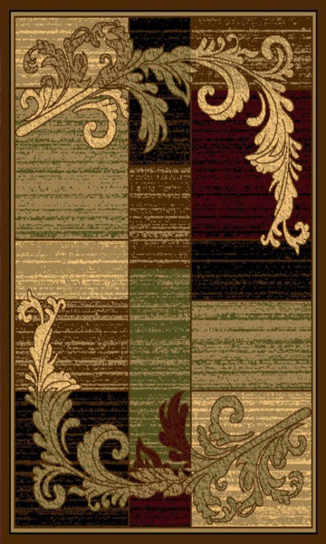Wreath Leaf Brown/Beige Area Rug Nairobi 1164 - Context USA - Area Rug by MSRUGS