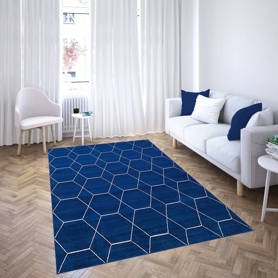 170 Navy blue moroccan collection area rug