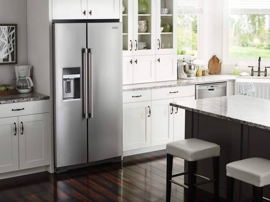 Maytag 36 Inch Side-by-Side Refrigerator with PowerCold Feature, Ice and Water Dispenser