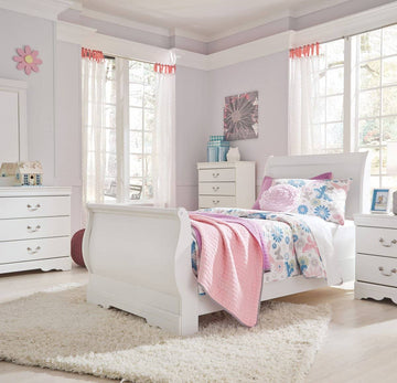 White Twin Sleigh Bed