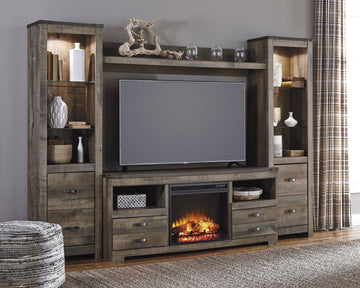 Trinell Brown 4 Piece Entertainment Wall Unit with Fireplace