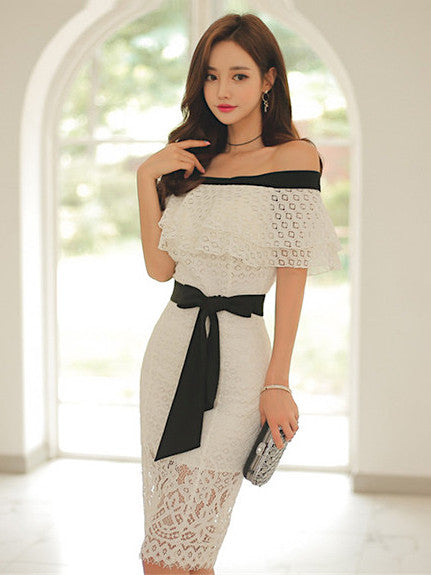 Thyme Off Shoulder Dress In White
