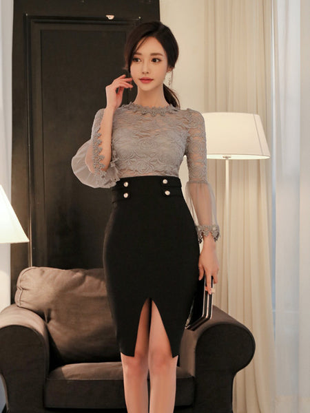 ANDY LACE GAUZE SLEEVE TOP AND SLIT SKIRT