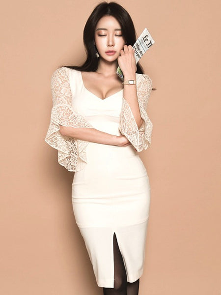 Nisa Lace Sleeve Dress in White