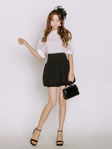 Feety collared blouse and High-waist  Balloon Skirt