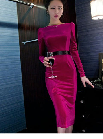 YUNA LONG-SLEEVED SLIM DRESS