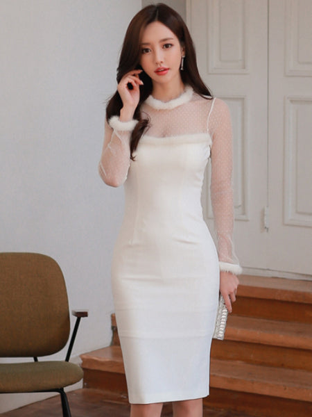 CADENCE WHITE SLIM DRESS
