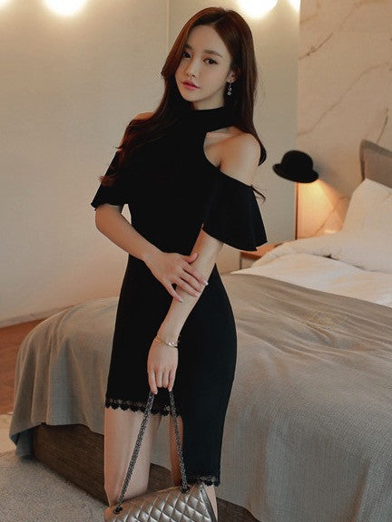 Scarlett Off Shoulder Dress in Black