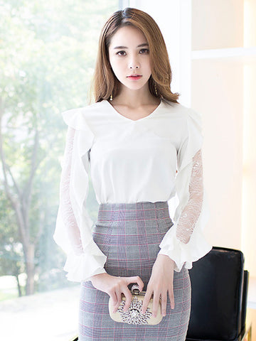 CHEVELLE LACE SPLICING LONG SLEEVED TOP
