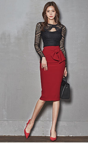 Masuri Knee Length Skirt and Long Sleeve Lace Top